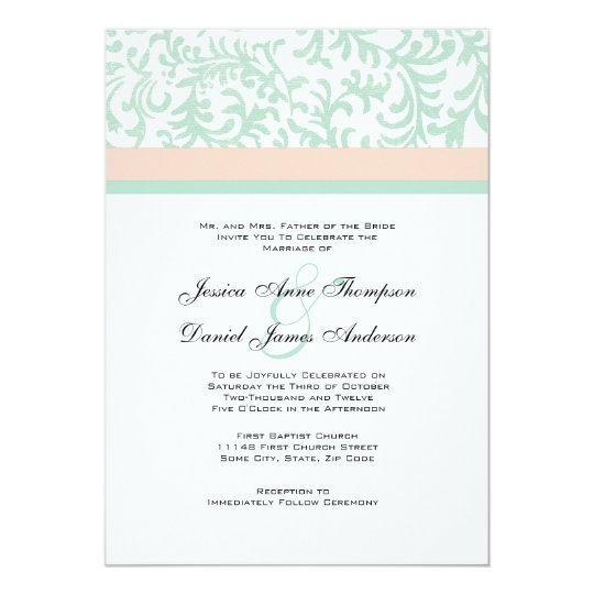 Mint Green and Peach Pink Wedding Invitation Zazzlecom