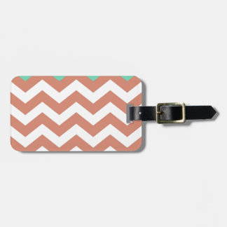 Mint Green and Peach Zigzags Bag Tag