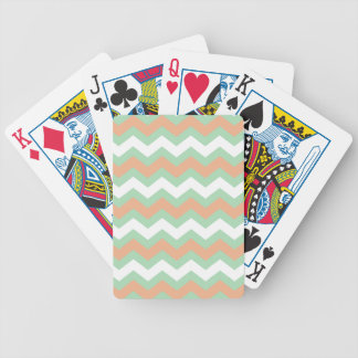Mint Green and Peach Zigzags Bicycle Playing Cards