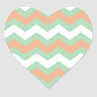 Mint Green and Peach Zigzags Heart Sticker