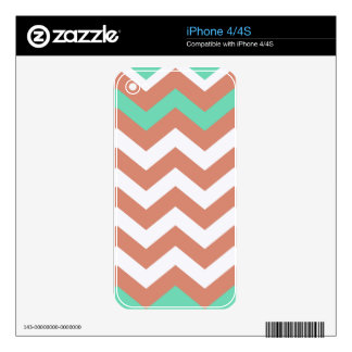 Mint Green and Peach Zigzags iPhone 4 Decal