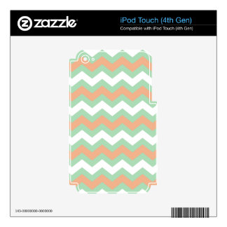 Mint Green and Peach Zigzags iPod Touch 4G Skins