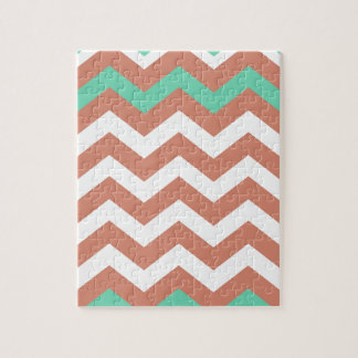 Mint Green and Peach Zigzags Jigsaw Puzzle