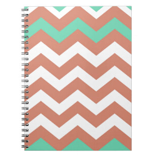 Mint Green and Peach Zigzags Notebook