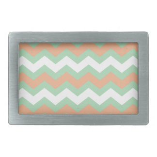 Mint Green and Peach Zigzags Rectangular Belt Buckle