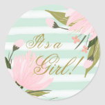 Mint Green and Pink Baby Shower Classic Round Sticker
