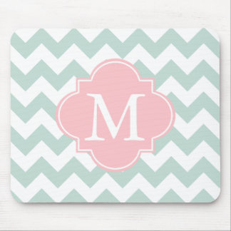 Mint Green and Pink Modern Chevron Custom Monogram Mouse Pad
