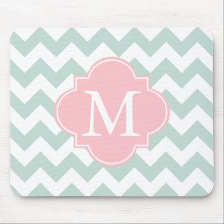 Mint Green and Pink Modern Chevron Custom Monogram Mouse Pad