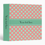 Mint Green and Pink Polka Dot Pattern Vinyl Binders
