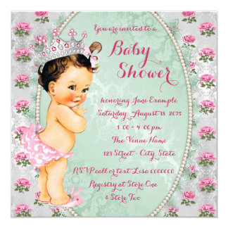 Mint Green and Pink Rose Baby Girl Shower Card