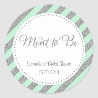 Mint Green and Silver Glitter Thank You Sticker