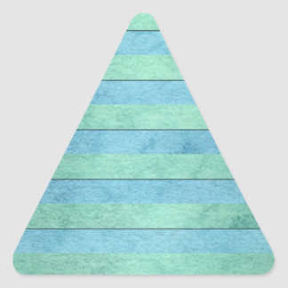 Mint Green and Tuquoise Pastel Stripes Pattern Triangle Sticker