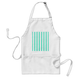 Mint Green And Vertical White Stripes Patterns Apron