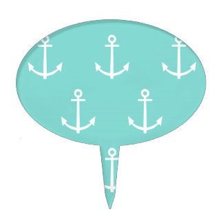Mint Green and White Anchors Pattern 1 Cake Topper