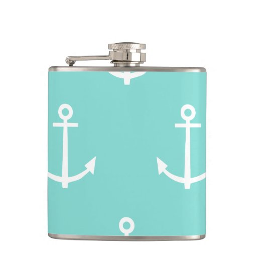 Mint Green and White Anchors Pattern 1 Flasks