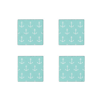 Mint Green and White Anchors Pattern 1 Stone Magnet