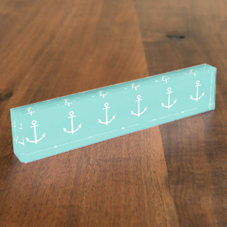 Mint Green and White Anchors Pattern 1 Desk Nameplate
