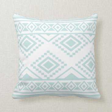 Aztec Themed Mint Green and White Aztec Tribal Pattern Throw Pillow