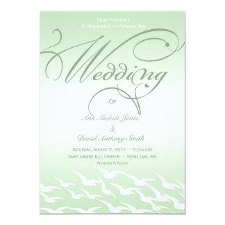 Mint Green and White Bird Wedding Invitation