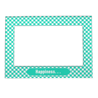 Mint Green and White Checkered Custom Photo Magnetic Frame