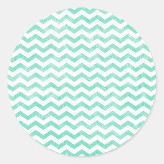 Mint Green and White Chevron Pattern Classic Round Sticker