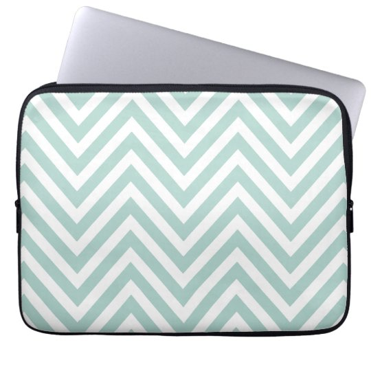 MINT GREEN AND WHITE CHEVRON PATTERN COMPUTER SLEEVE