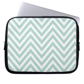 MINT GREEN AND WHITE CHEVRON PATTERN LAPTOP COMPUTER SLEEVE