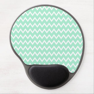 Mint Green and White Chevron Pattern Gel Mouse Pad