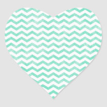 Mint Green and White Chevron Pattern Heart Sticker
