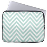MINT GREEN AND WHITE CHEVRON PATTERN LAPTOP COMPUTER SLEEVES
