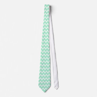 Mint Green and White Chevron Pattern Neck Tie