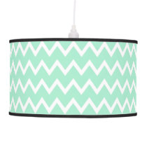 Mint Green and White Chevron Pattern Pendant Lamp