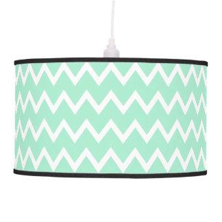 Mint Green and White Chevron Pattern Pendant Lamp