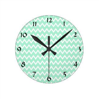 Mint Green and White Chevron Pattern Round Clock