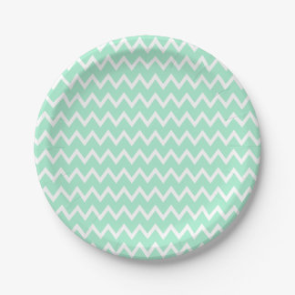 Mint Green and White Chevron Pattern 7 Inch Paper Plate