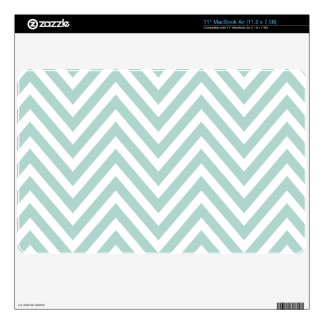 MINT GREEN AND WHITE CHEVRON PATTERN DECAL FOR THE MacBook