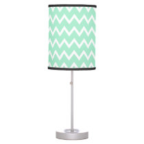 Mint Green and White Chevron Pattern Table Lamp