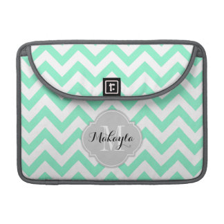 Mint Green and White Chevron Pattern with Monogram Sleeve For MacBook Pro