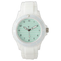 Mint Green and White Chevron Pattern Wristwatch
