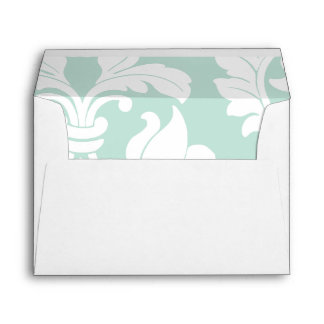 Mint Green and White Damask Envelope