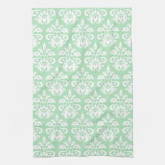 Mint green and white damask hand towel
