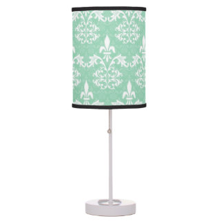 Mint Green and White Damask Lamp