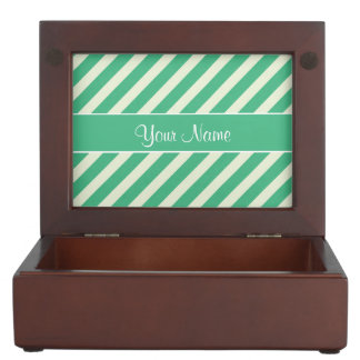 Mint Green and White Diagonal Stripes Memory Box
