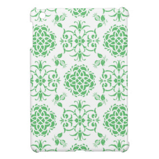Mint Green and White Floral Damask Style Pattern iPad Mini Case