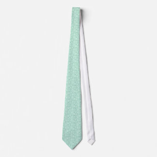 Mint Green And White Floral Damasks Pattern Neck Tie