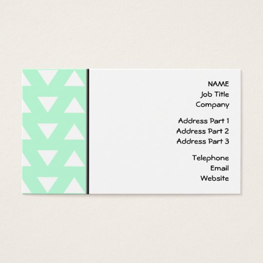 Mint Green and White Geometric Pattern. Business Card