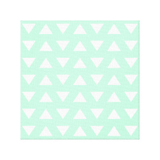 Mint Green and White Geometric Pattern. Stretched Canvas Print