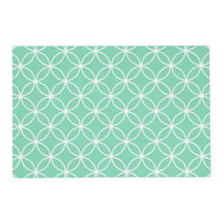 Mint Green and White Geometric Pattern Circles Laminated Placemat