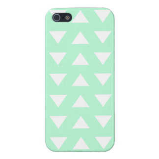 Mint Green and White Geometric Pattern. Cases For iPhone 5