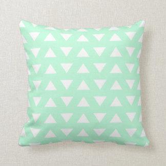 Mint Green and White Geometric Pattern. Pillow